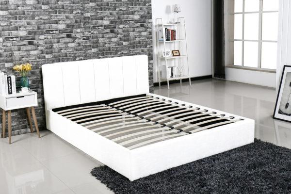 łóżko Tapicerowane Do Sypialni Mensa Białe