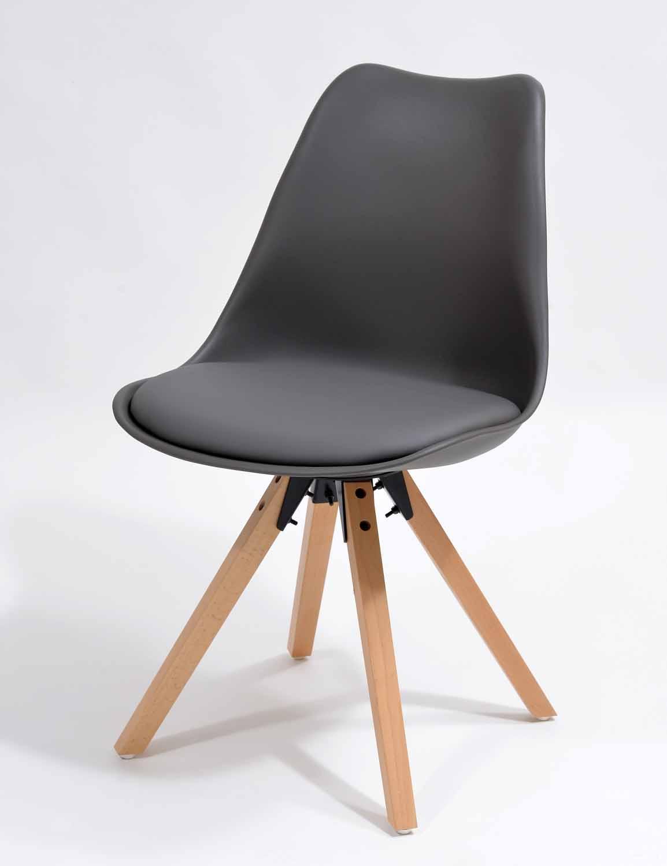 Krzesło styl skandynawski, szare z poduszką