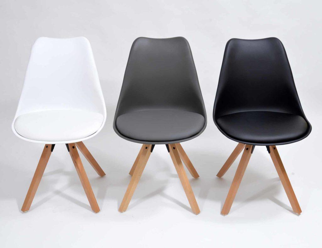 Nowoczesne krzesła skandynawskie szare, czarne, białe