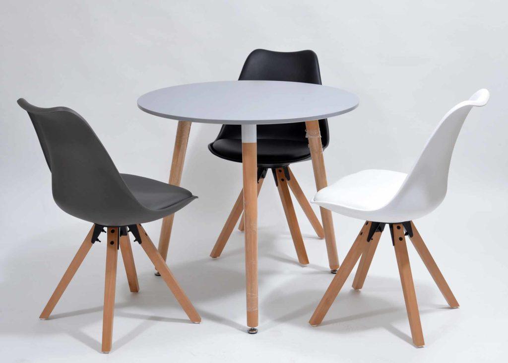 Nowoczesne krzesła skandynawskie zestaw ze stołem