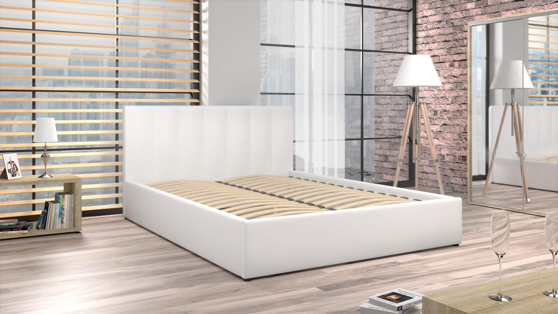 łóżko Tapicerowane Do Sypialni Z Materacem Mensa Białe