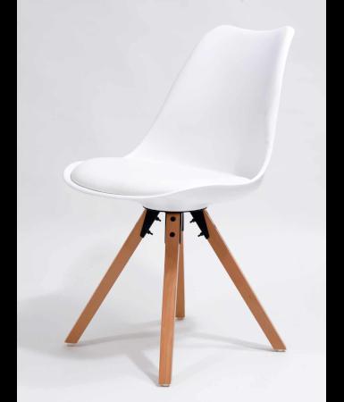 Krzesło styl skandynawski, białe z poduszką