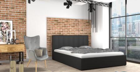 Łóżko tapicerowane do sypialni z materacem