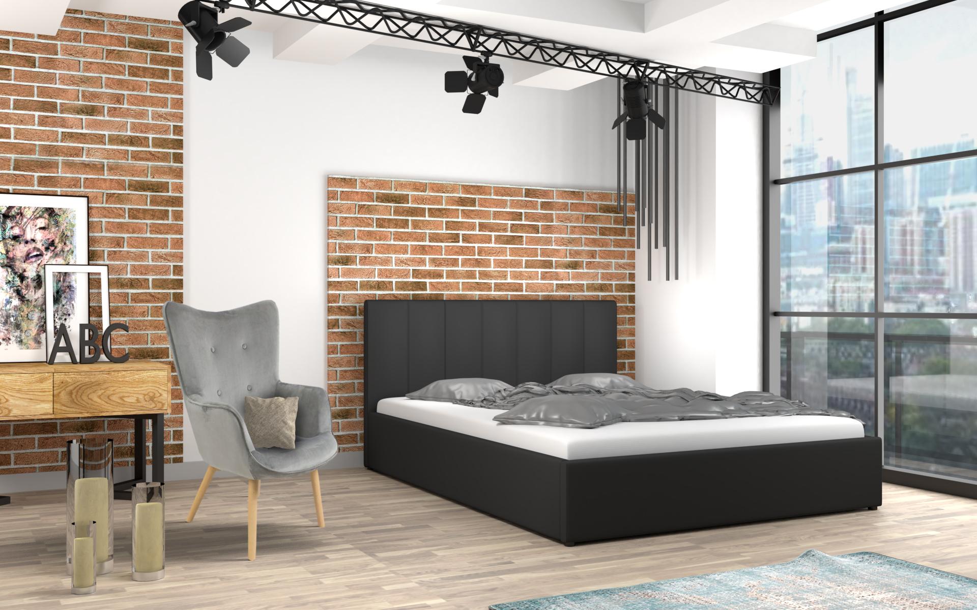 łóżko Tapicerowane Do Sypialni Z Materacem Mensa Czarne
