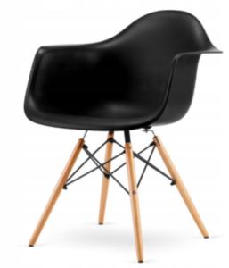 Krzesło szerokie styl skandynawski, czarne
