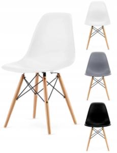 Nowoczesne krzesło skandynawskie Italian Style w kolorze szarym do salonu, jadalni, biura, restauracji Siedzisko z polipropylenu, miękkie i dające wygodne oparcie. Nogi wykonane z bukowego drewna.
