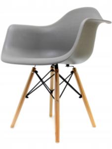 Krzesło szerokie styl skandynawski, szare