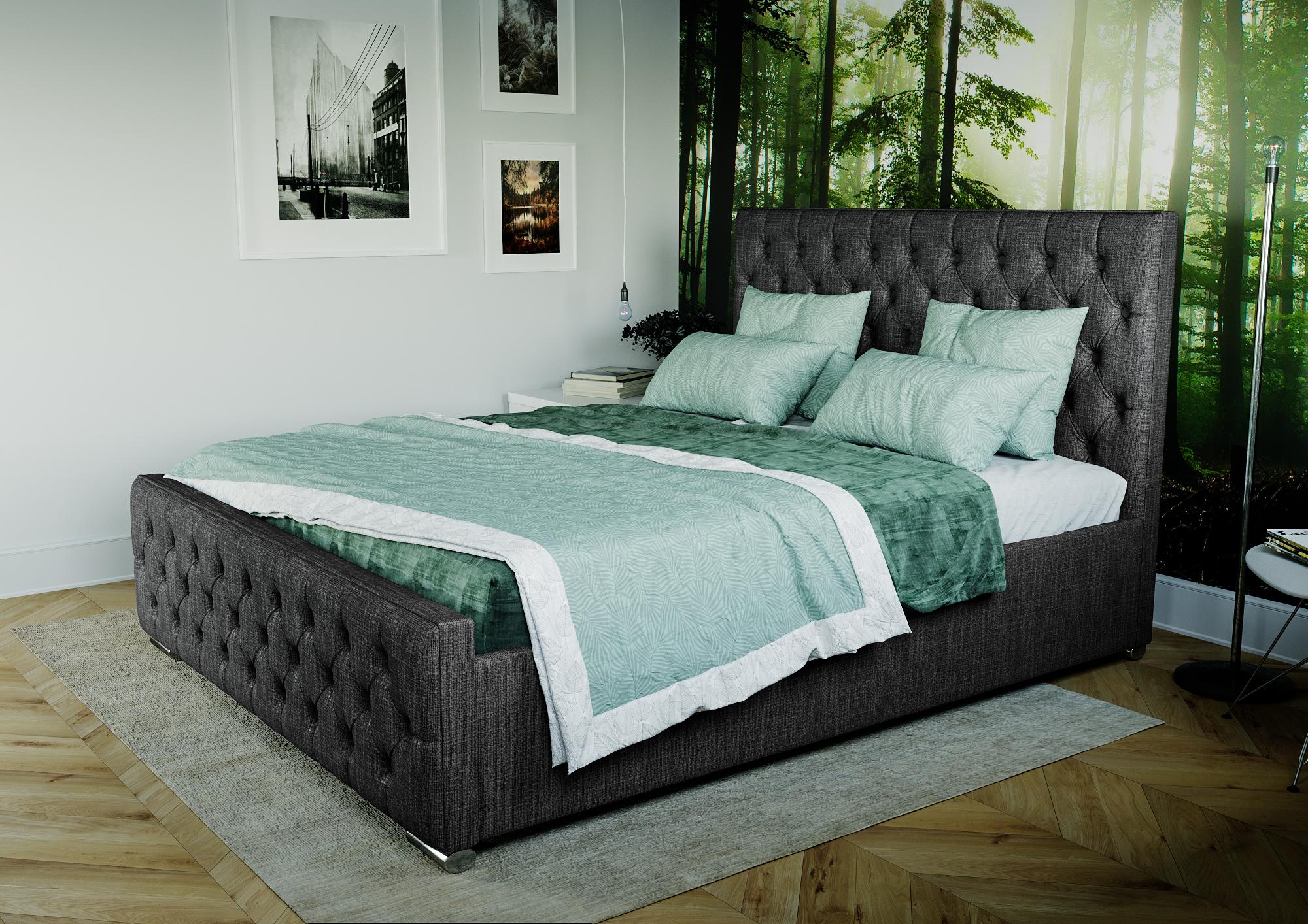 łóżko Tapicerowane Pikowane Z Materacem Do Sypialni Gamma 160x200