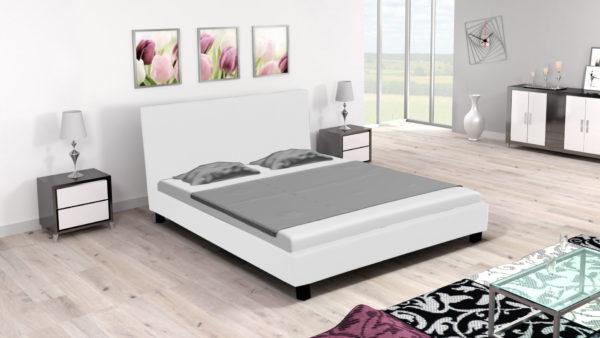 łóżko Tapicerowane Do Sypialni Z Materacem Miriam Białe
