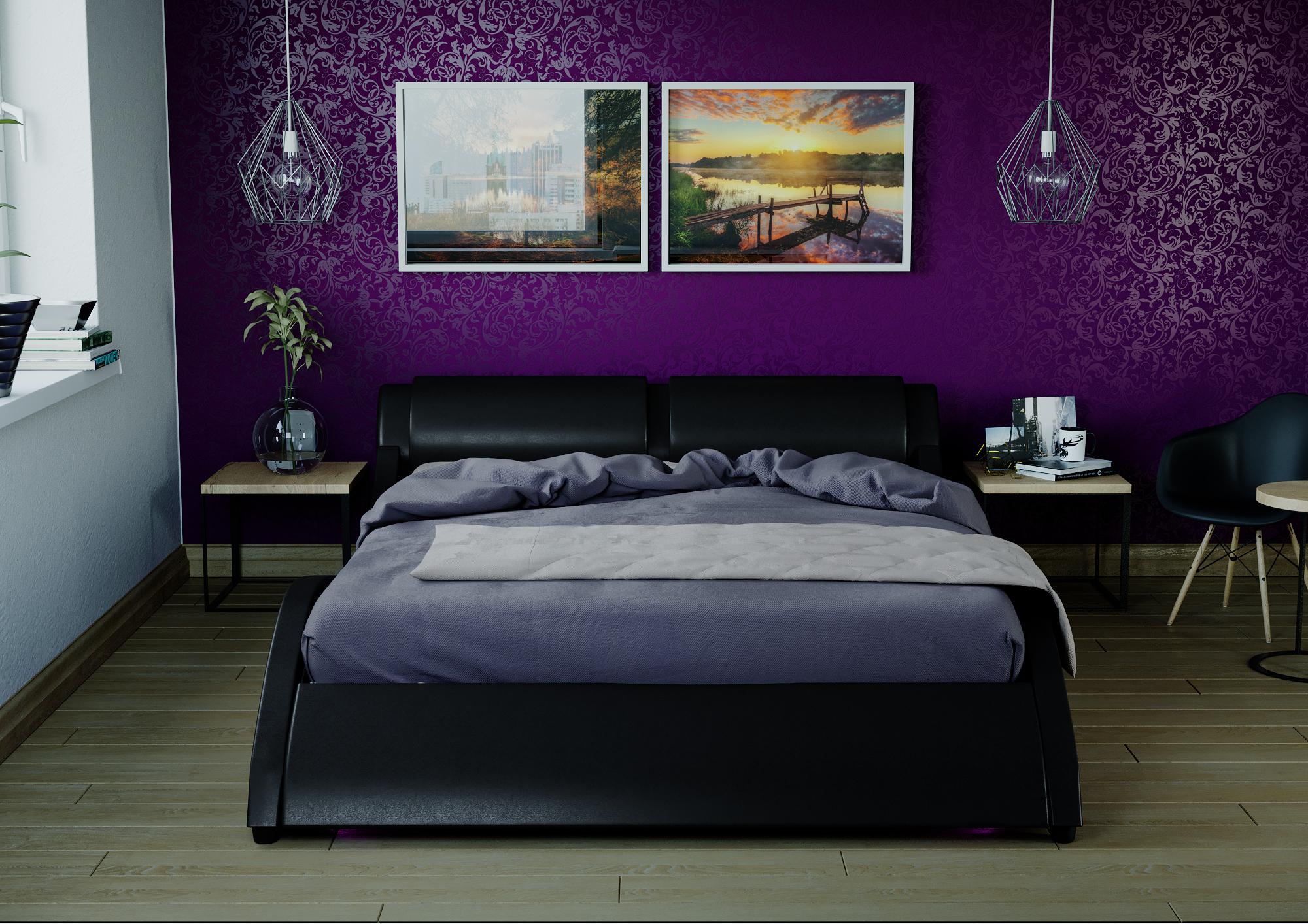 łóżko Tapicerowane Do Sypialni Wenez Czarne Podświetlenie Led