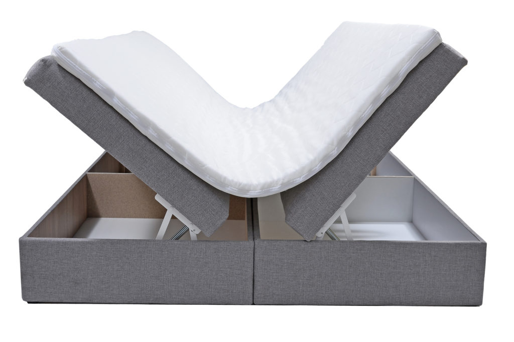 Łóżko tapicerowane do sypialni z pojemnikiem na pościel